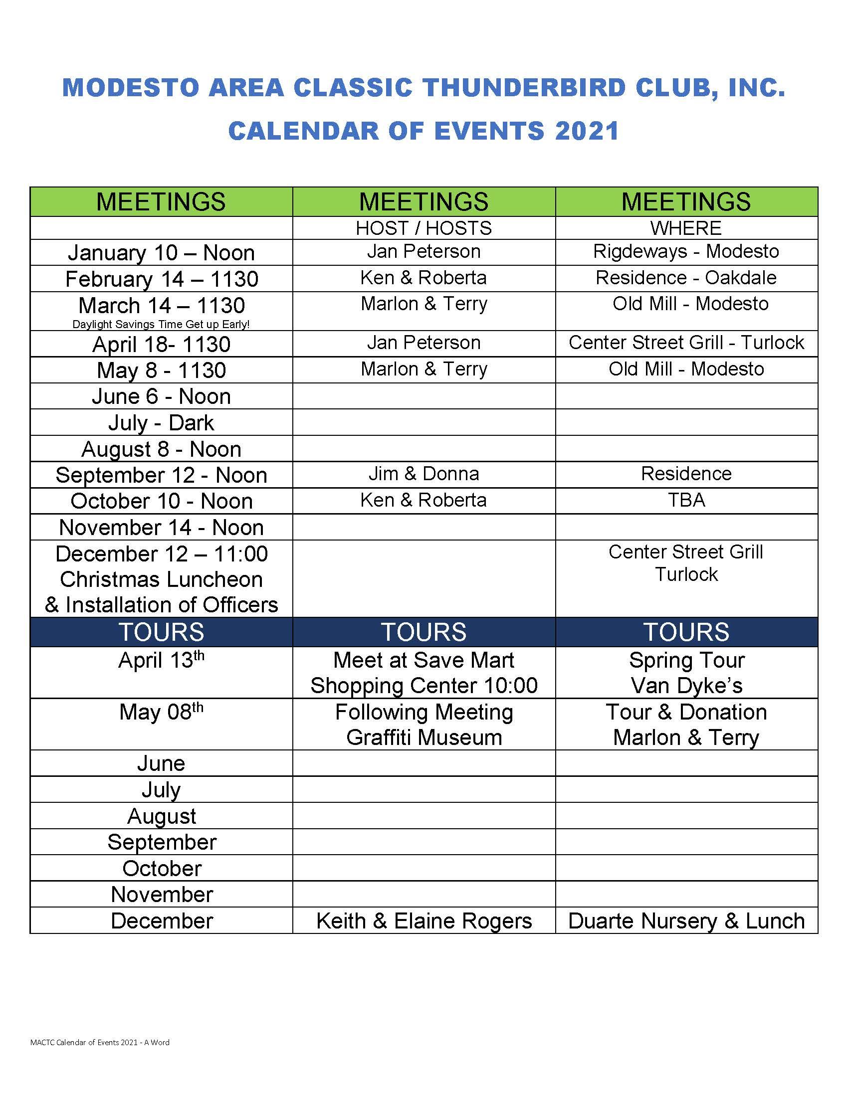 MACTC Calendar of events 2021